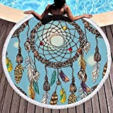 IAMZHL Toalla de Playa Redonda Borla Floral Estera de Yoga Manta Redonda Macrame Toalla de enfriamiento de Playa Toalla de Microfibra de Playa Redonda-a7-150X150CM