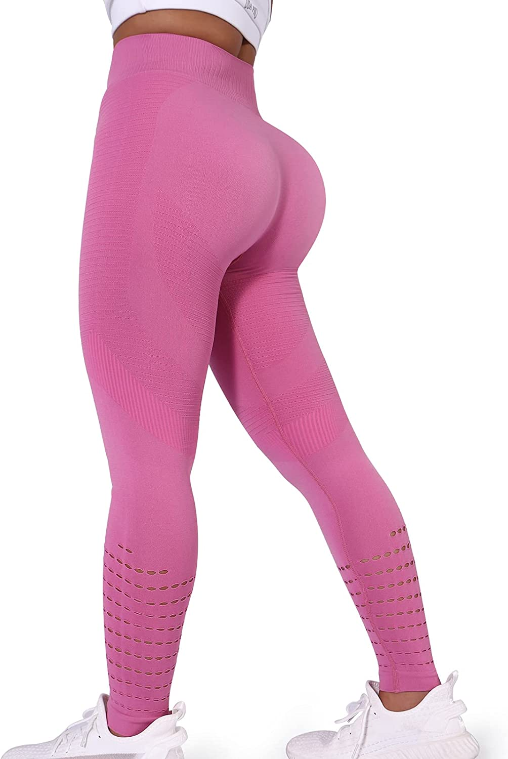 Workout Leggings for Women Hollow Max 76% OFF Out Tummy Waist High Stripe Co Virginia Beach Mall
