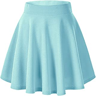 Payeel Women's Skirts Basic Stretchy Flared Casual Mini Skater Skirt