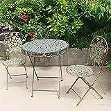 Zhyaj Juego De 2 Sillas De Jardín De Metal - Vintage Folding Bistro Sets - Weatherproof Patio Furniture Sets - Romantic Style