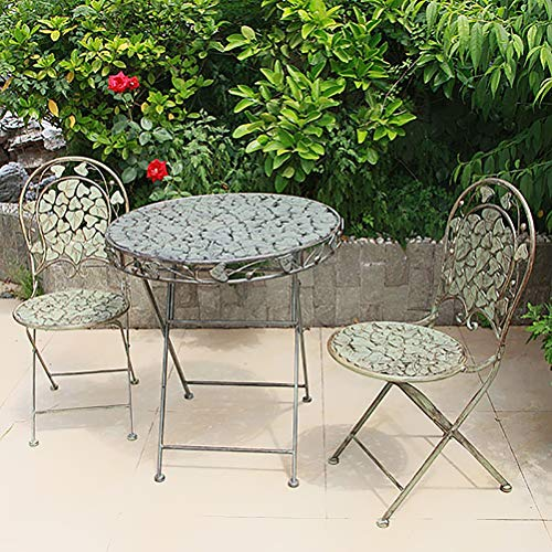 Zhyaj Juego De 2 Sillas De Jardín De Metal - Vintage Folding Bistro Sets - Weatherproof Patio Furniture Sets - Romantic Style