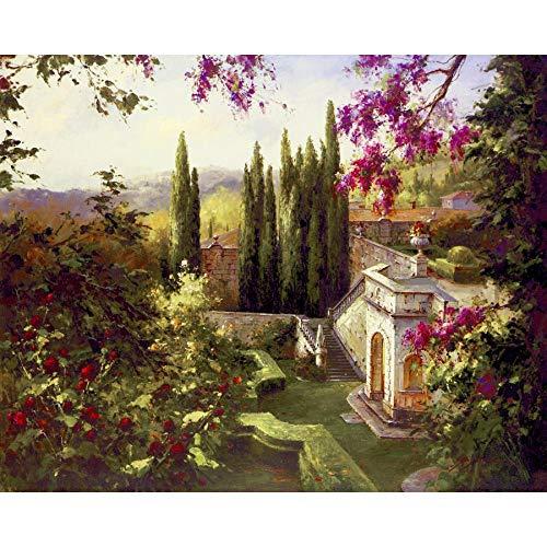 yiyiyaya Frameless Gemälde aus der Toskana Handgemachte Landschaft Kunst leinwand Garten Landschaft Wohnzimmer dekorative malerei ölgemälde 48_X_36 Zoll
