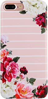 Girly iPhone 7 Plus Case iPhone 8 Plus Case Pink White Striped Floral Blooming Around Gloosy Hard Back Case Cover TPU Bumper Full Protection