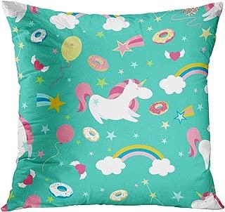 Qryipd Throw Pillow Cover Comfortable Print Unicorn on Rainbow Cute Magic Background Living Room Car Sofa Bedroom Polyester Hidden Zipper Pillowcase 20x20 Inch Home Decor Cushion Case