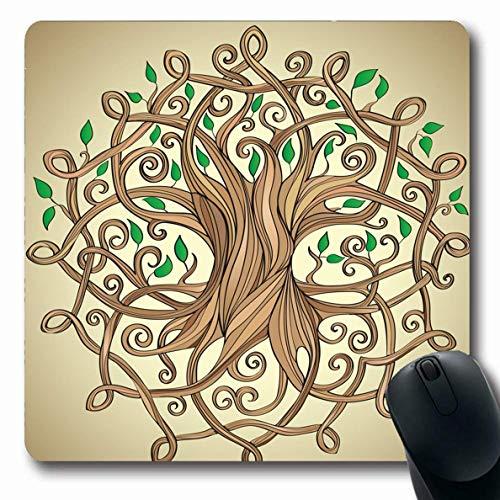 Mousepad Oblong mit erstaunlichen Blatt Natur Baum Leben keltisches Muster Pflanze Blätter Zeichen Symbole Symbole natürliche im Freien rutschfeste Gummi Mauspad Büro Computer Computer Laptop-Spiele M