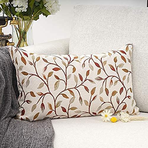Farmhouse Oblong Rectangle Floral Chenille Embroidery Decorative Throw Pillow Case Cushion Cover Lumbar Pillowcase for Sofa-12'x20'