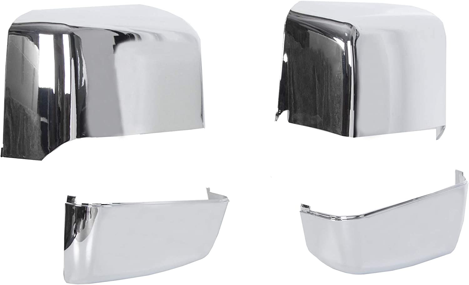 23444119 ECOTRIC NEW Pair Triple Chrome Plated Tow Mirror Cap Cover Compatible with 2014-2019 GM Chevy Silverado GMC Sierra Pickup Truck Replacement For 23444125 23444126 23444120