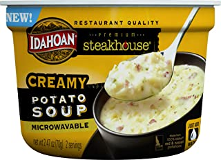 Idahoan Steakhouse Creamy Potato Soup, Made with Gluten-Free 100-Percent Real Idaho Potatoes, 2.4 oz Bowl (Pack of 6)