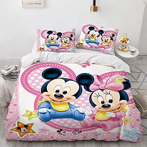 3 Piezas Juego Cama Minnie Mouse Funda Nordica 220X240 Cm Microfibra con Cremallera Oculta Fundas Nordicas Modernas con 2 Fundas Almohada 50X75 Cm