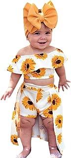 Summer Baby Girl Outfits 💞 Toddler Off Shoulder Sunflower Print Tops+Skirt Pantskirt 3pcs Set Headbands Gift 🌻🌻