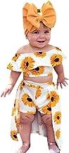 Vanvler -Kids Dress Summer Baby Girl Outfits 💞 Toddler Off Shoulder Sunflower Print Tops+Skirt Pantskirt 3pcs Set Headbands Gift 🌻🌻