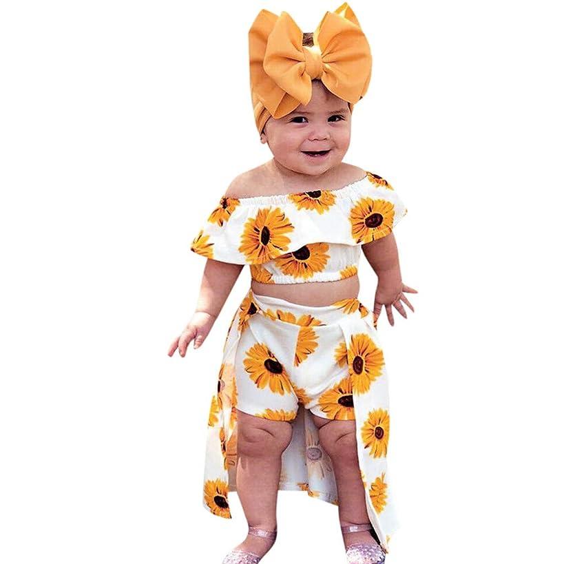 Vanvler -Kids Dress Summer Baby Girl Outfits ?? Toddler Off Shoulder Sunflower Print Tops+Skirt Pantskirt 3pcs Set Headbands Gift ????