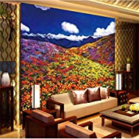 mzznz 3D壁画美しい風景手-塗られた花海のリビングルームテレビ背景壁画