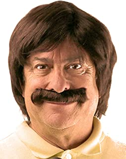 Brown Retro Wg & Mustache Set | Sonny Bono, Sonny and Cher, Anchorman, Ron Burgundy Costume Wig
