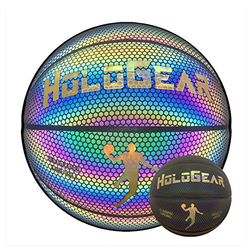HoloGear HoloHoops Holographic Glowing Reflective Basketball - Light Up Camera Flash Glow in The Dark Basketballs - Hoop Gifts Toys for Kids and Boys - Perfect Toy (Multi-Color Glow, Men's)