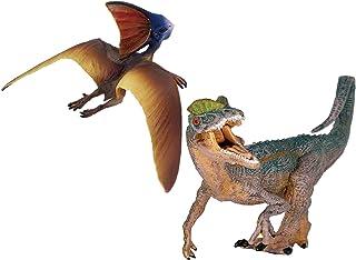 Gemini & Genius 2pcs Dilophosaurus Dinosaur and Tapejara Pterodactyl Figure Realistic Flying Dinosaur Pteranodon Model Pte...