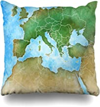 Ahawoso Throw Pillow Covers Cases Russia Watercolor France Handdrawn Map Mediterranean Europe Physical Africa Middle Nature Algeria Home Decor Cushion Square Size 18