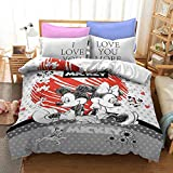 Trduast I Love You More Mickey Mouse Minnie Bedding Set Queen Size 3 Piece Heart Love Duvet Cover Set for Kids Boys Girls, 1 Duvet Cover + 2 Pillowcase