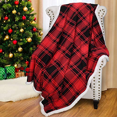 """Catalonia Red Plaid Sherpa Throw Blanket, Reversible Super Soft Warm Comfy Fuzzy Snuggle Micro Fleece Plush Throws for Bedding Couch TV 60""""x50"""" Buffalo Checkered"""