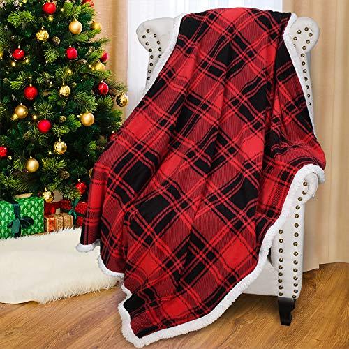 Catalonia Karierte Sherpa Decke Rot Flauschige Wohndecke, Super Weiche Warme Fleecedecke Überwurfdecke für Bettcouch-Fernseher mit Doppelt Genäht Zweiseitige Karo Decke- Sofadecke Winter, 150x130 cm