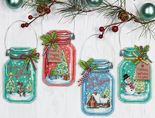 Dimensions 70-08964 Counted Cross Stitch Holiday Mason Jar Ornament Kit, 4pc