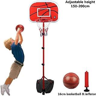Children Basketball Stand Hoop Net System Set Basket Holder with Wheel Backboard 16cm Kids Basketball and Inflator Adjusta...