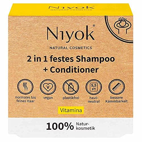 Niyok® 2 in 1 festes Shampoo und Conditioner | hautneutral pH 5,5 vegan plastikfrei | normales bis feines Haar | wie Haarseife Bio Naturkosmetik ohne Plastik | Vitamina (80g)