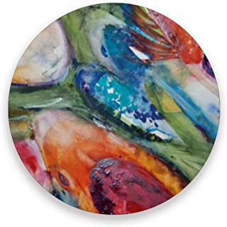 FANTAZIO Watercolor Koi Fish Cup Mat Coaster for Wine Glass Tea Coaster with Varying Patterns Suitable for Kinds of Mugs and Cups