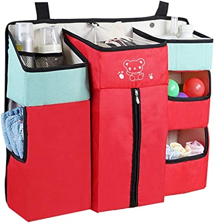 Peng Sounder-bb Crib Hanging Nappy Change Organizer Nursery Baby Hanging Diaper Organizer Caddy Stacker For Changing Table  Crib  Playard for Crib  Color Red  Size 60X50X12CM