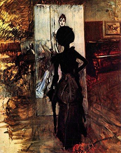 Het Museum Outlet - Vrouw voor het schilderij 'Witte pastel foto' door Giovanni Boldini - Poster Print Online Kopen (40 X 50 Inch)