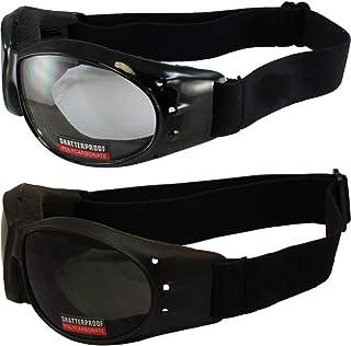 Global Vision Eliminator Black Frame Padded Motorcycle Goggles Clear & Super Dark Lens