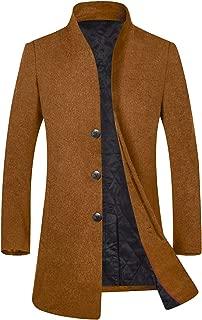 Men's Winter Stylish Wool Trench Coat Business Slim Fit Long Peacoat Top Coat