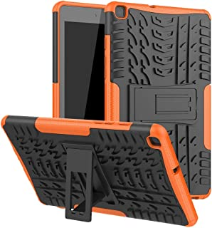 JDDRCASE Dual Layer Hybrid Armor Kickstand 2 in 1 Shockproof tablet Case Cover Compatible with Samsung Galaxy Tab A 8.0 (2019) SM-T290/SM-T295 (Color : Orange)