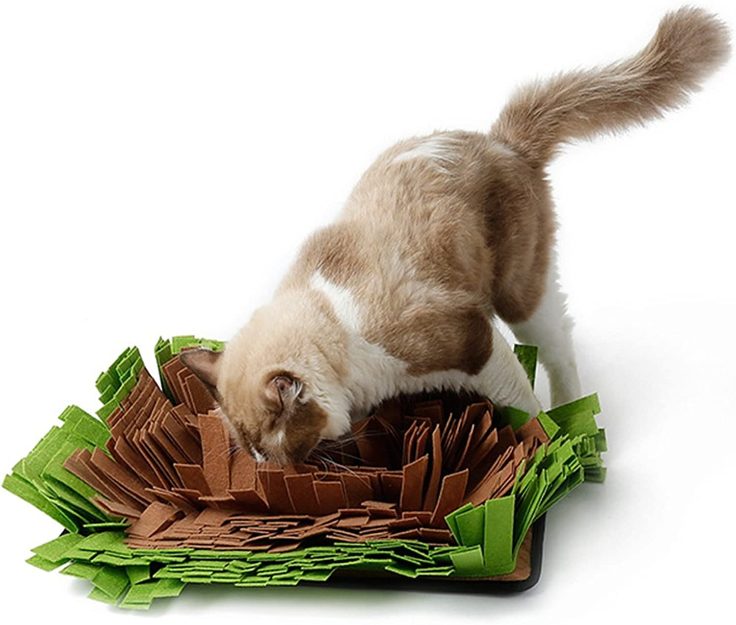 NACOCO Dog Snuffle Mat Cat Smell Training Feeding Mat Pet Play Toy for Stress Release (Brown)