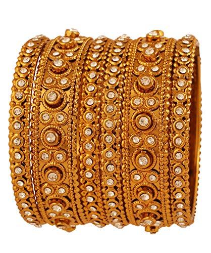 Touchstone Armreif Kollektion Indian Bollywood atemberaubenden Look weißer Rhein charmante Designer-Schmuck Armreifen Armbänder für Damen 2.25 Set von 6 Gold