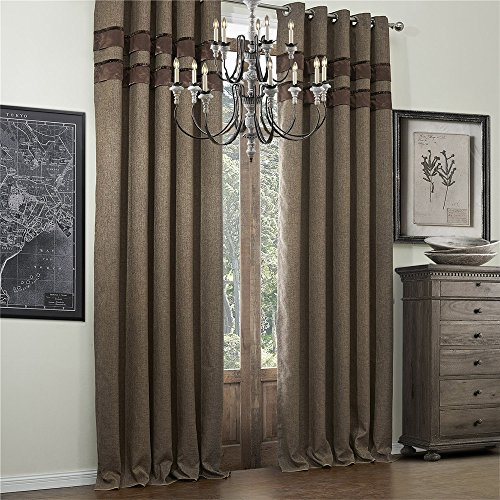 """IYUEGO Bamboo Fiber Faux Classic Room Darkening Grommet Top Curtain Draperies with Multi Size Custom 50"""" W x 96"""" L (One Panel)"""