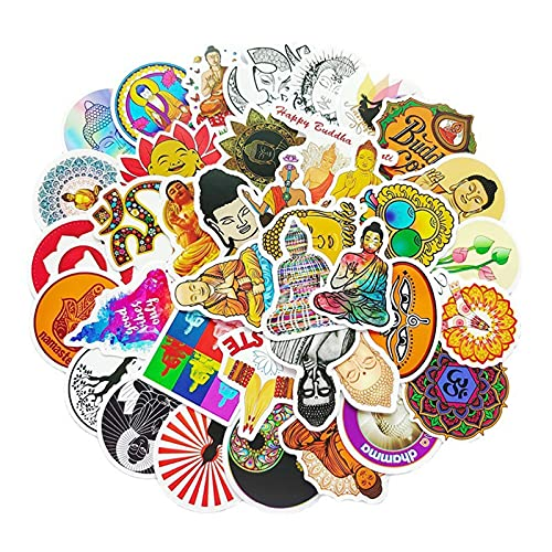 Buddha Stickers Pack, 100PCs, Buddhism Aesthetic Vinyl Waterproof Decals, Stickers for Hydro Flask, Laptop, Water Bottle, Stickers for Kids, Toddlers, Teens, Girls, Adults, Cute Cool Bumper Car Planner Stickers (Buddha