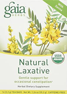 Gaia Herbs Natural Laxative Herbal Tea, 1 Box of 16 Tea Bags