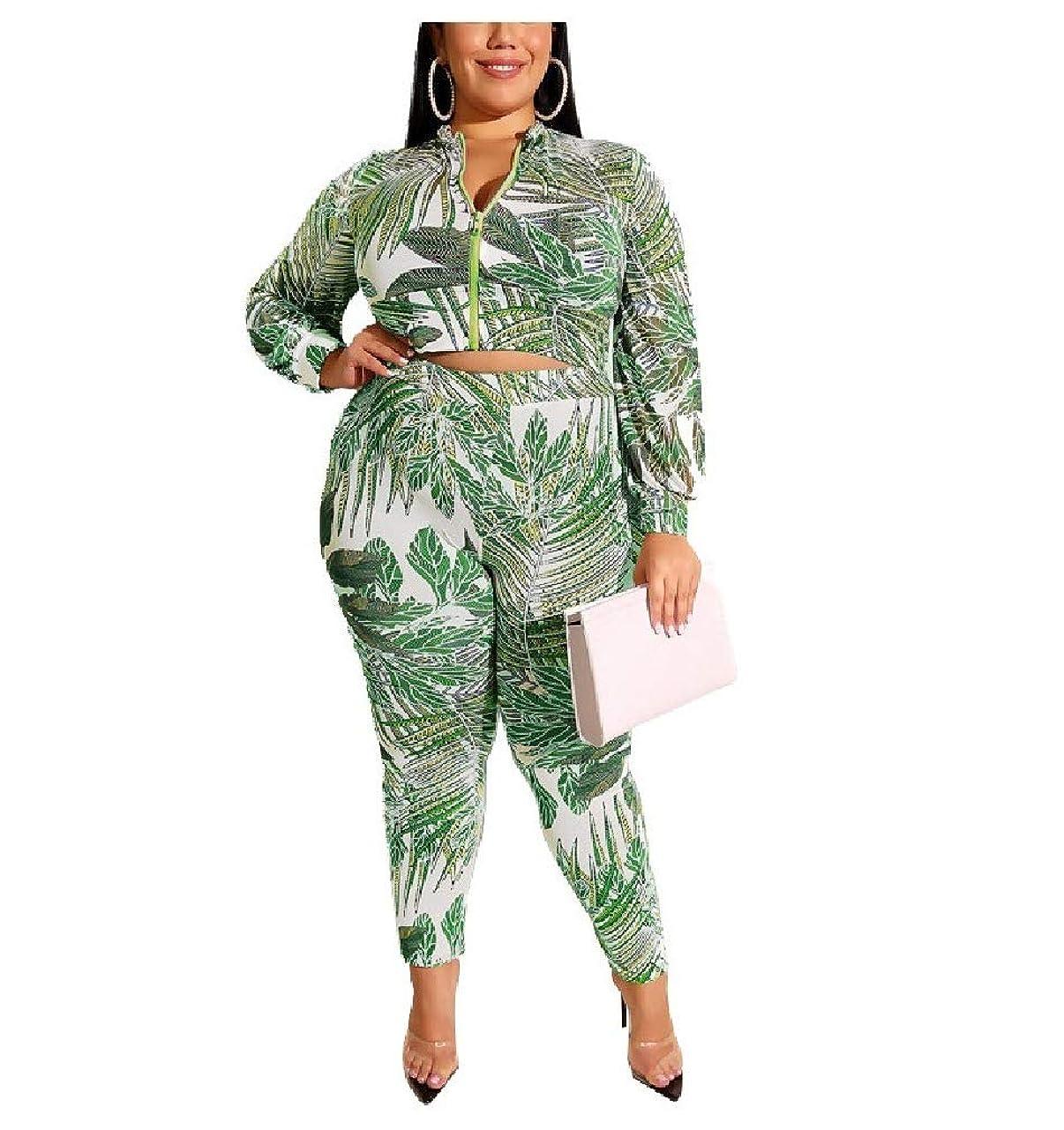 ラップトップかすかな密度女性の2つの部分服装は、作物トップとカプリパンツセットをジップします