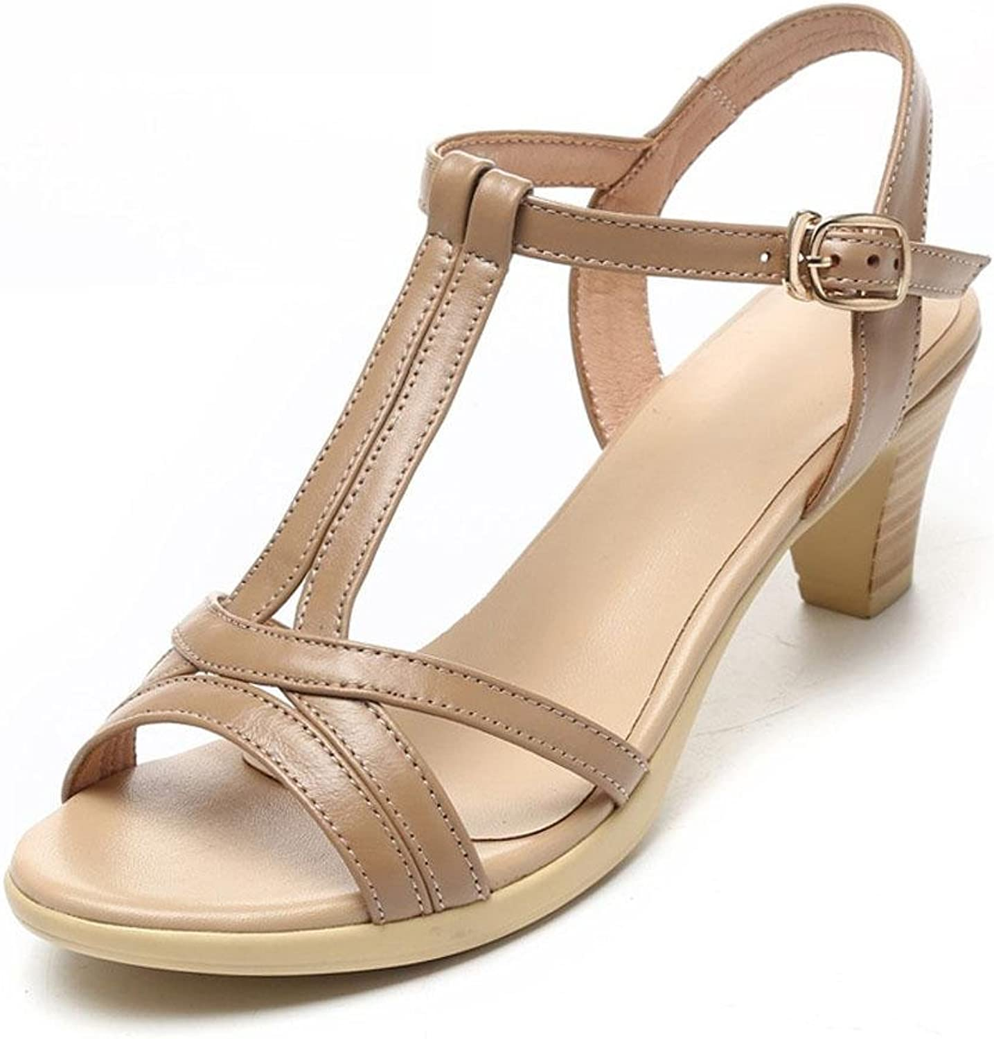 L@YC Women's Sandals in Summer with Thick Leather Leather Soft Skirt Comfortable Large Size 2017 Women's shoes