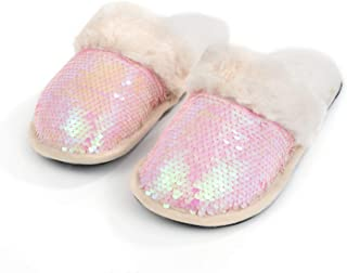 Women's Sequin Slippers Anti-Skid Rubber Sole House Shoes Indoor/Outdoor(2 colors changing)