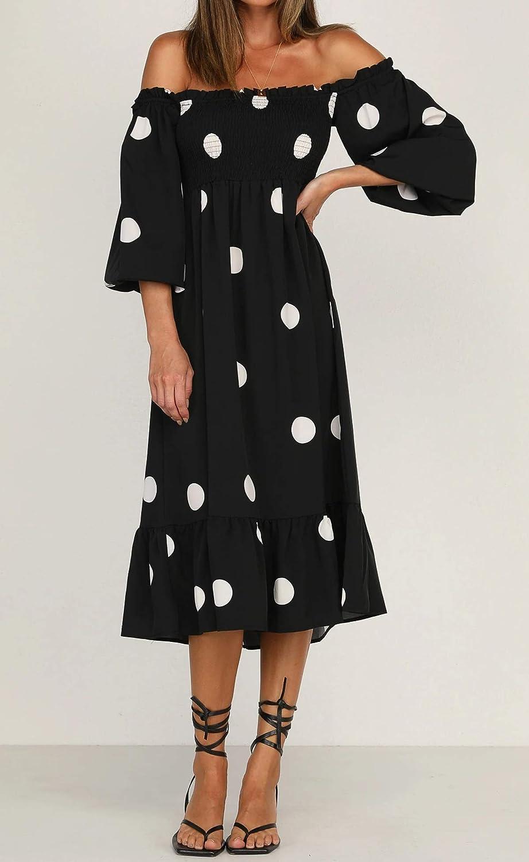 R.Vivimos Women's Summer Cotton Puff Sleeves Casual Vintage Polka Dots Print Off Shoulder Midi Dress