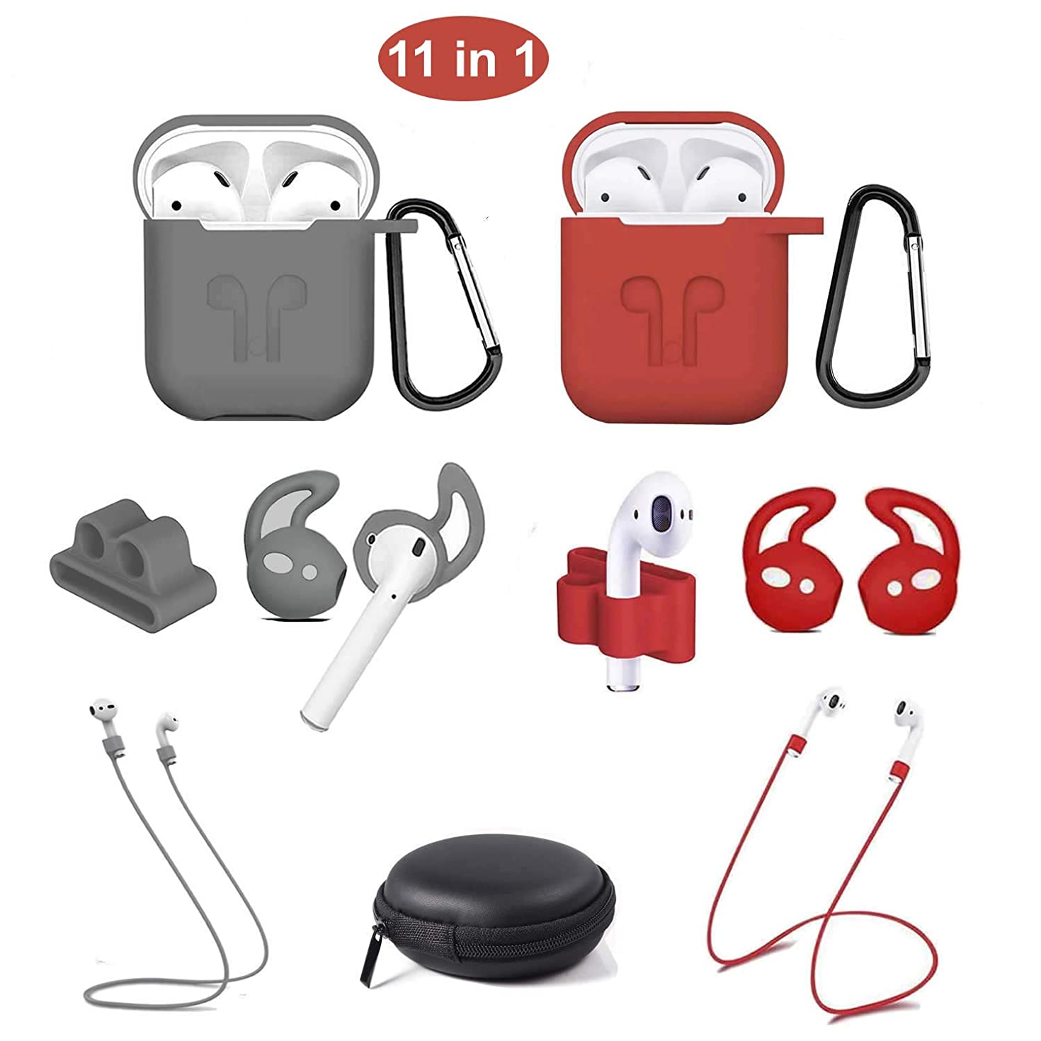 AirPods Case,11 in 1 Airpod Accessories Kits Protective Silicone Cover and Skin for Apple Airpods 2 & 1 Charging Case with Airpods Ear Hook Grips/Airpods Strap/Keychain/Watch Band Holder (Gray/Red)