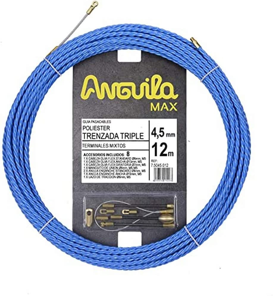 Anguila Max 7.5045.012 Guía pasacables Especial Curvas Poliéster Triple Trenzada 4,5mm 12 Metros y terminales Mixtos, Azul