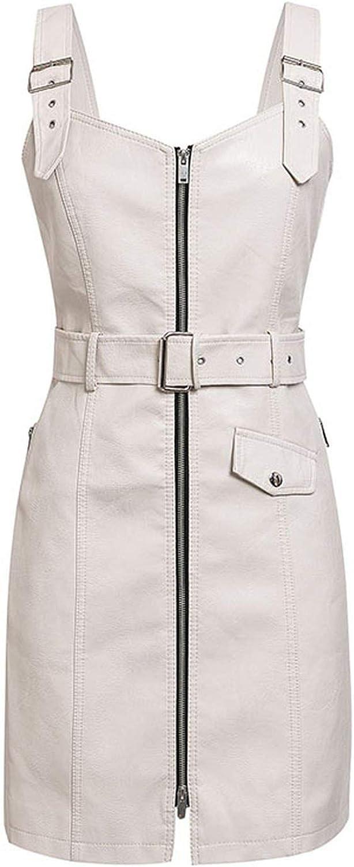 Brave pinkmary PU Leather Women Dress V Neck Zipper Belt Mini Sexy Dress Vest Strap Ladies Short Party Dress Sundress,White,L