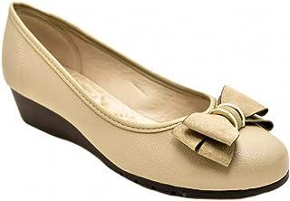Sapato Moleca Anabela Baixo Napa Feminino - Bege
