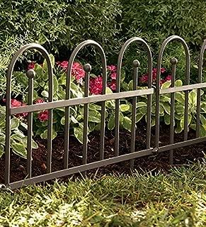 Plow & Hearth Classic Iron Fence Garden Edging - Iron - Pewter Finish - 120