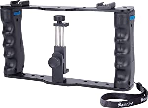 Annsm Mobile/Smartphone Video Rig Cage with Two Cold Shoe Mounts for External Device such as Microphone, LEDs for iPhone X, X Plus, Samsung, GoPro and Action DSLR Cameras