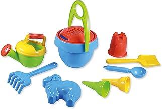 Lena 05420 - Happy Sand speelset voor jongens I, zandspeelgoed 10-delig voor kinderen vanaf 2 jaar, strandspeelgoed met em...