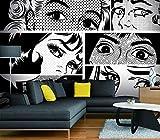Giallobus - TAPETEN STICKER - POP ART - EYES BLACK AND WHITE - 180X130 CM